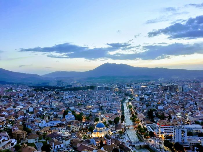 Prizren City Cityscape Urban Skyline Illuminated Mountain Sunset Town Arts Culture And Entertainment High Angle View Aerial View