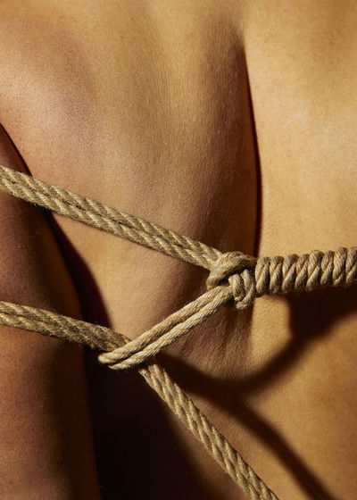 Close-up of rope tied to over white background