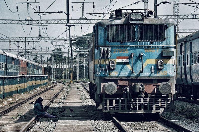 Man on railroad track