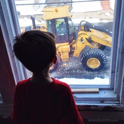 Home sick from school, when a front loader and a few drump trucks roll up out front?!! Just what the doctor ordered. Let's See What We See! Mighty Machines Mdavidleeds Photos