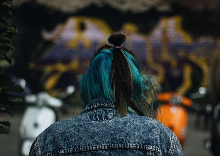 Rear view of man with dyed hair