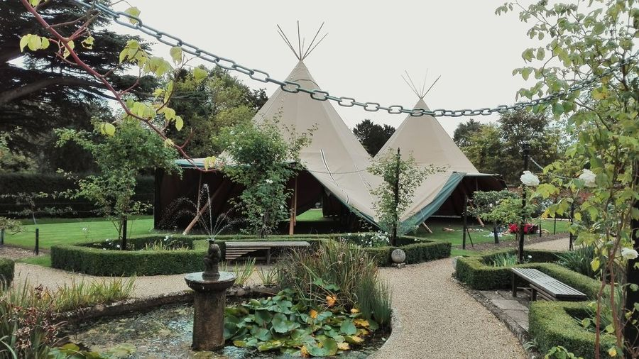 Architecture Outdoors Day October October2017 Built Structure Teepee Bridge End Gardens Saffron Walden Teepee Poles Walled Garden Wedding Venue Pond Fountain