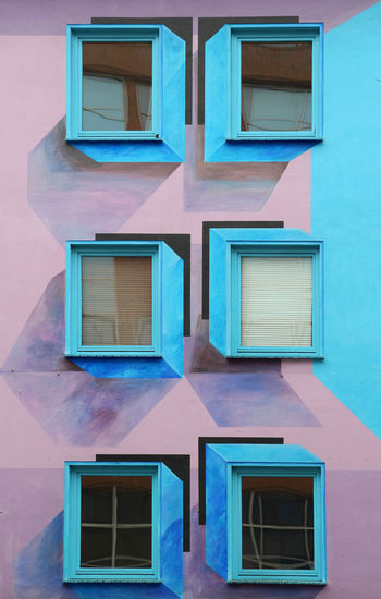 3D Art Architecture Backgrounds Blue Building Building Exterior Built Structure City Day Fassade Full Frame Glass - Material House No People Outdoors Pattern Pink Color Reflection Residential District Side By Side Turquoise Colored Wall - Building Feature Window Windows