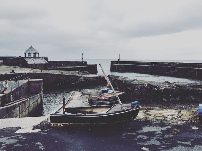 Moody Charlestown Historic Harbour Harbour Cornwall Kernow Sky Cloud - Sky Outdoors Day Architecture Building Exterior Built Structure Nautical Vessel No People Water Sea