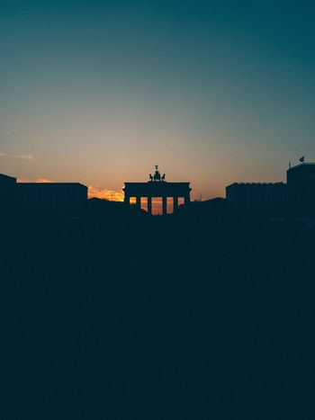 Brandenburger Tor Berlin Architecture Built Structure Copy Space Building Exterior Sunset Silhouette Travel Destinations Low Angle View Clear Sky History No People Sky City