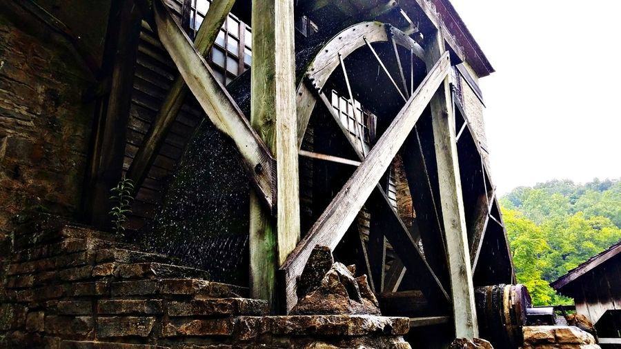 201 year old fully functioning mill Mill Historical Building Historical Historic Historic Building Old Old-fashioned Old Buildings Grain Mill Machinery Wood Indiana Watermill Water Wheel Sky Architecture Built Structure Underneath Vintage Weathered