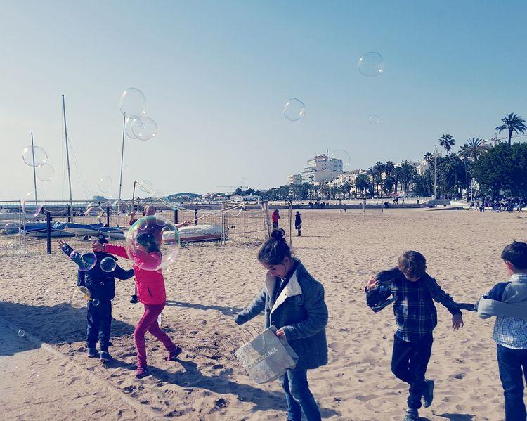 Kids Children Playing Fun Bubbles Beach Beachphotography Running
