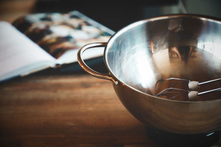 Cooking Cooking At Home Shine Shiny Wooden Table Baking Bowl Close-up Cookbook Day Food Food And Drink Freshness Indoors  Kitchen kitchen utensils Metal Bowl Mixer Mixing Mixing Bowl No People Selective Focus Silver Bowl Still Life Table