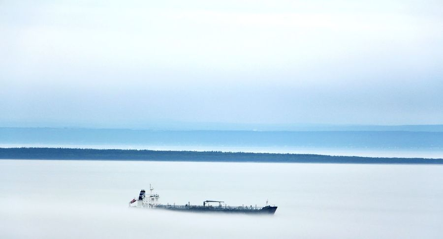 Ghost ship floating on the fog Boats Foggy Fog White Ghost Ship Ships Transportation Floating On Water Smoke Smoking Ghost Town Water Calm Tranquility Faded Fade Transparent Transparency Lost In The Landscape
