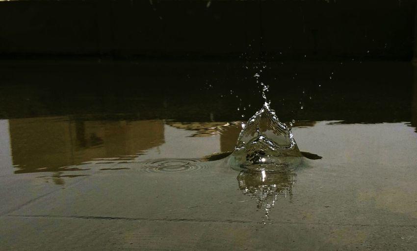 Water splashing in puddle
