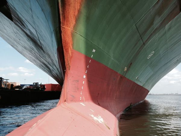 Boat Close-up Containership Day Green Harbour Nautical Vessel No People Outdoors Port Red Reflection Sea Transportation Water