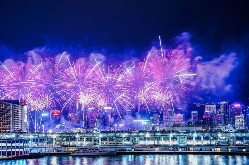 Fireworks Firework Display EyeEm Nature Lover HongKong Hong Kong EyeEm Gallery EyeEmNewHere EyeEm Best Shots EyeEm Selects EyeEm Night Illuminated Water Firework Building Exterior Architecture Celebration Arts Culture And Entertainment Firework Display Event Built Structure City No People Exploding Sky Nature Motion River Light Outdoors