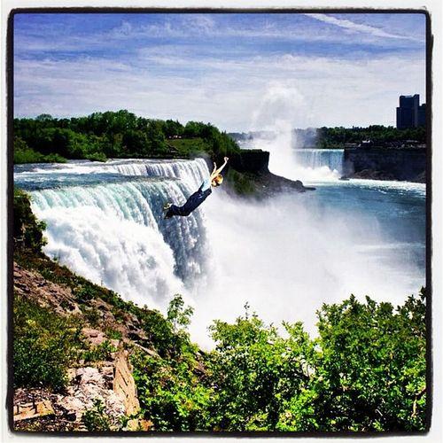 Wheeee!! Yippee!!! Photochop Instagram Picoftheday Photooftheday Niagra Waterfall Boys Kids Jump Dive