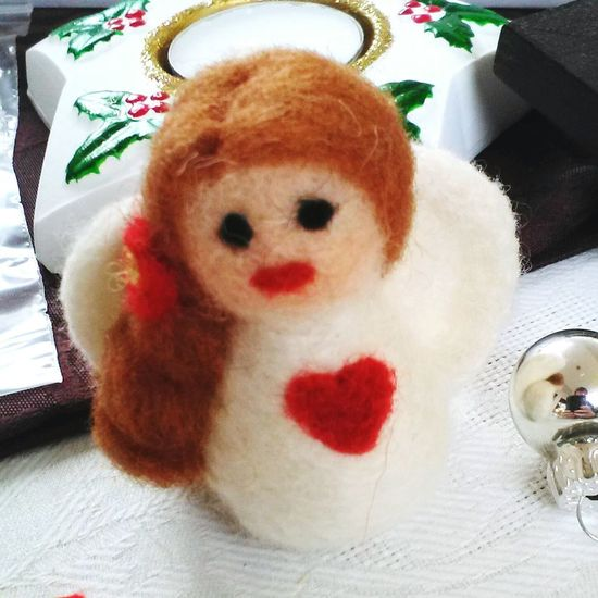 felted angel Christmas Market Ornaments Angel Needlefelting Handmade Heart Cute