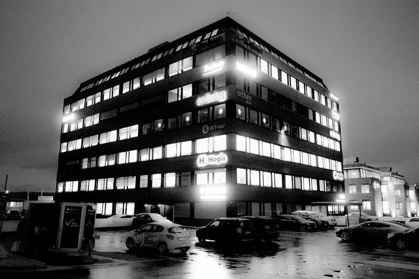 Office building at Økern in Oslo. Architecture Night City økern Oslo Norway FujifilmX70 Fujifilm X70 X70 Blackandwhite Photography Black And White Sorthvitt