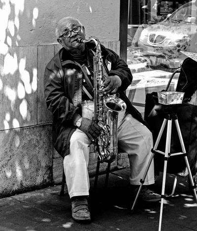 Arts Culture And Entertainment One Man Only Music Adult One PersonOutdoors Musician Real People Skill  Performance Musical Instrument Photography Bnw_captures Picoftheday Bnw Photography The Street Photographer - 2017 EyeEm Awards Live For The Story