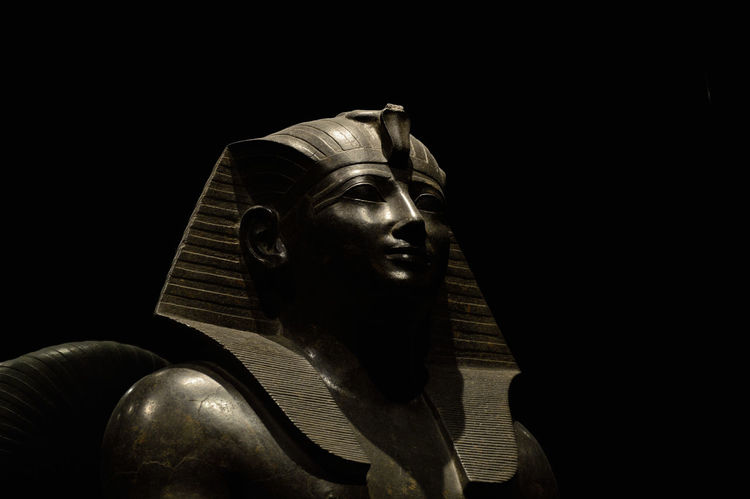 Black Background Close-up Egypt Marbleù No People Old-fashioned Pharahos Statue Statue