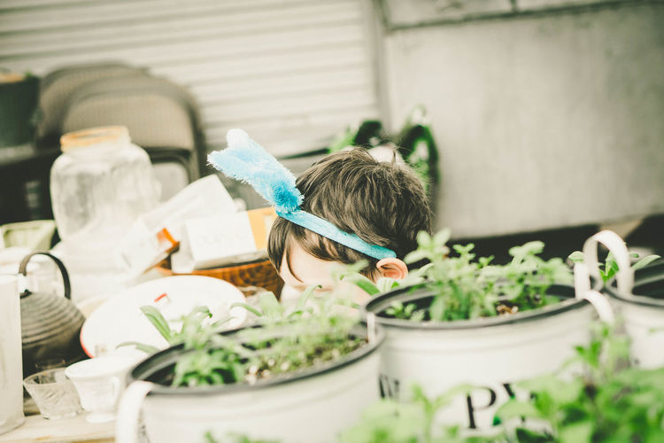 Cropped image of boy wearing headband by potted plants