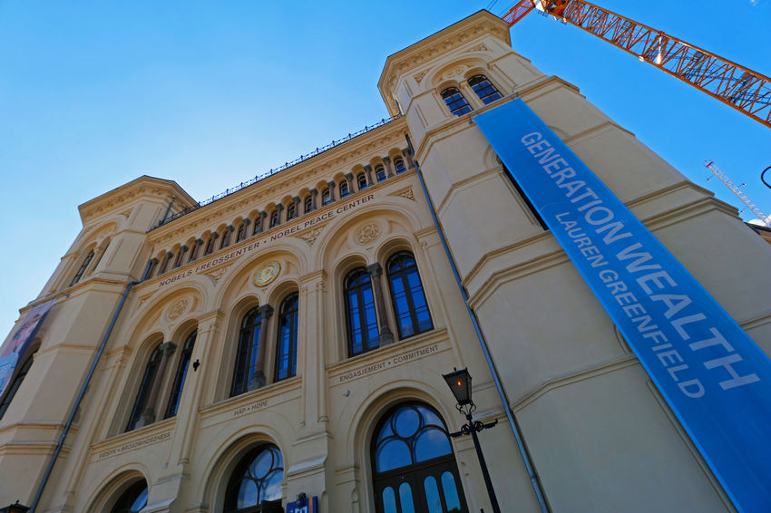 Nobel Peace Center Nobel Peace Center Visit Norway Architectural Column Architecture Architektur Blue Building Building Exterior Built Structure Canonphotography Clear Sky Eye4photography  History Low Angle View No People Sky Visit Oslo Window