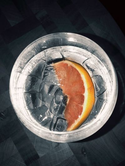 IPhoneography Gin Tonic EyeEmNewHere Food And Drink Food Indoors  Healthy Eating Freshness Table Close-up SLICE High Angle View Fruit Drink Directly Above Citrus Fruit Glass SLICE