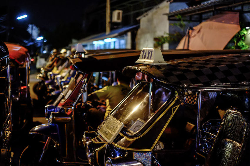 Tuk-Tuk. Chiang Mai, Thailand. Chiang Mai | Thailand FUJIFILM X-T2 Taxi Thailand Transportation TukTuk Car Close-up Focus On Foreground Fujifilm Fujifilm_xseries Illuminated Night Vehicle HUAWEI Photo Award: After Dark