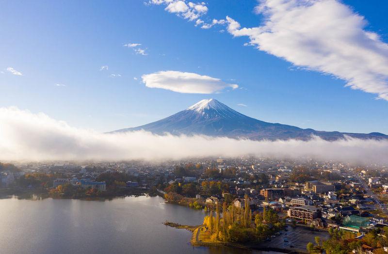 Aerial view of city against cloudy sky at kawaguchiko lake,japan