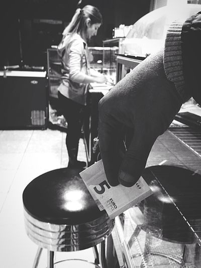 The payment.... Blackandwhite Photography Waitress At Work Myhand Money Coffeeshop One Person Indoors  Sitting