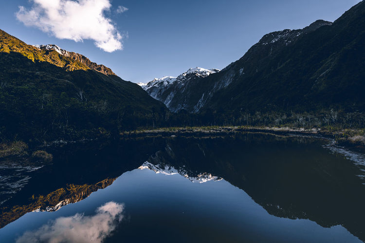 Reflection of mountains and lake against sky