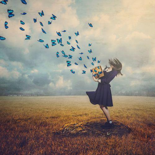 BoShiuan Sky Butterfly Box Girl Shiuanphoto Fine Art Photography Surreal Keelung Taiwan