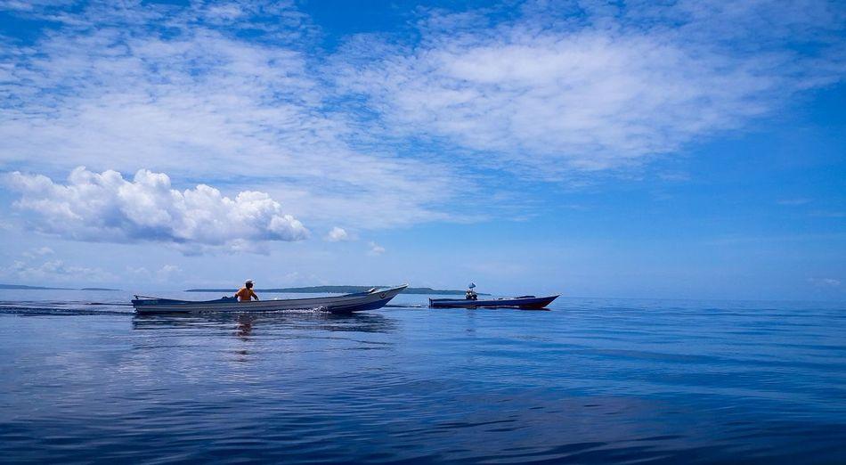 Nelayan Water Sea Nautical Vessel UnderSea Kayak Oar Blue Men Sky Horizon Over Water