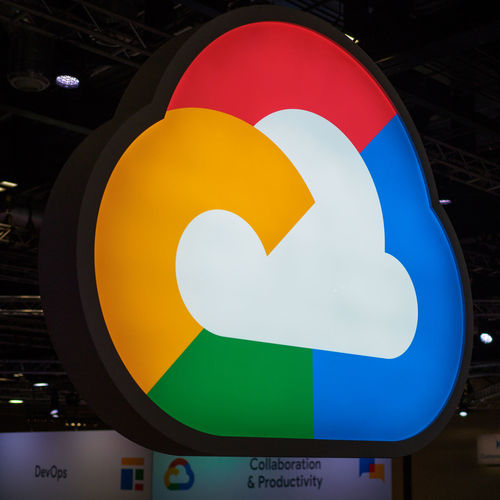 Google Cloud Platform logo at Google Cloud Next London '18 Google Cloud Blue Close-up Communication Geometric Shape Google Cloud Next London '18 Google Cloud Platform Multi Colored No People Red Shape Sign Symbol White Color