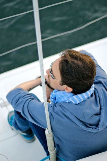 High angle view of man in boat