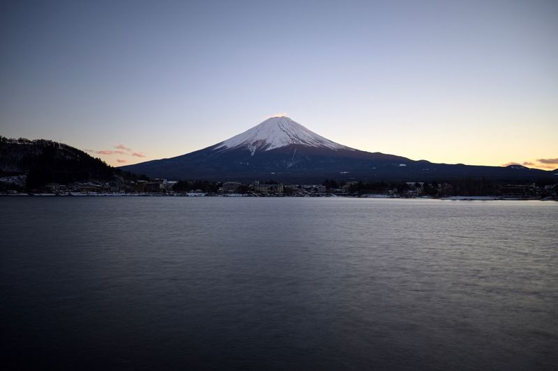 First visit to Japan and I was lucky enough to see Mount Fuji unobscured by clouds. Mt Fuji Fuji Mountain Landscape Clear Sky Snowcapped Mountain Snow Peak Outdoors Sky Japan Tranquility No People Sunset Long Exposure Nature Lake Lake View Fujifilm Mount FuJi The Great Outdoors - 2017 EyeEm Awards Lost In The Landscape