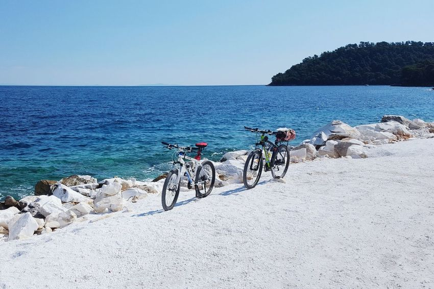 Bicycle trip Sea Bicycle Beach Horizon Over Water Outdoors Cycling Sky Water Clear Sky Beauty In Nature Vacations Tranquility Nature Go Higher