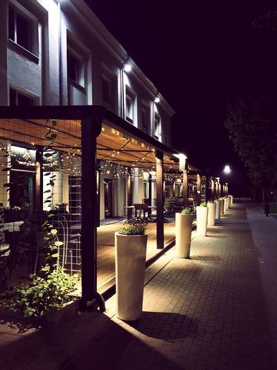 Night No People City Lithuania Lights Terrace Garland Restaurant Restaurant Decor