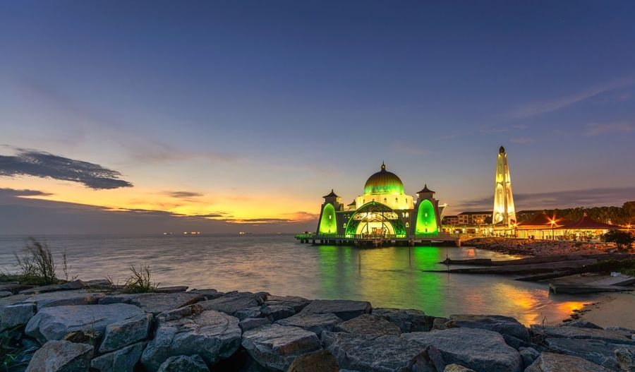 Mosque landscape sunset religious sea water rocks Mosque Sea Water Rocks History Travel Destinations Outdoors Long Exposure Sky