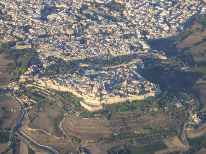 The ancient city of mdina in malta from the air