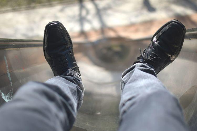 Low Section Of Boy Legs On Slide