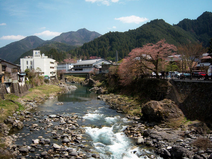 Beauty In Nature Cloud - Sky Gifu Prefecture Gifu,Japan Landscape Mountain Mountain Range Nature River Sky Town TOWNSCAPE Village Water Feel The Journey