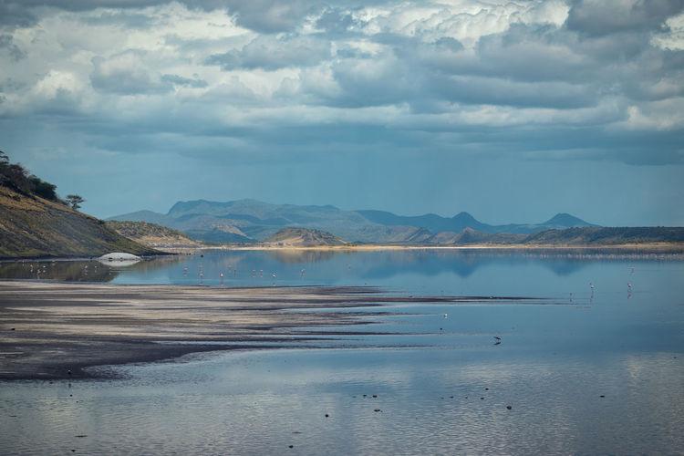 Scenic lake against an arid landscape, lake magadi, rift valley, kenya