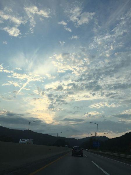 Sky Beautiful Clouds In A Car Traveling Korea Korean