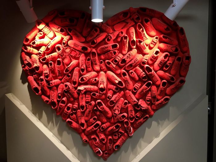 A heart of shoes... Indoors  Close-up Red Geometric Shape No People Unhealthy Eating Indulgence Shoes Shoe Shop Shoes ♥ Light Heart Love Beautifully Organized