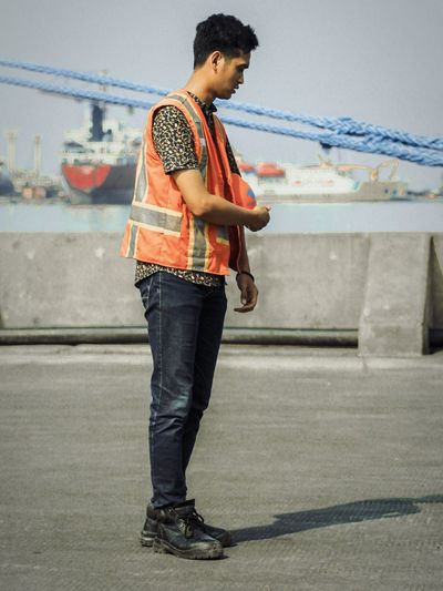 On duty Port Work Safety Portrait Full Length Standing City Technology Arts Culture And Entertainment
