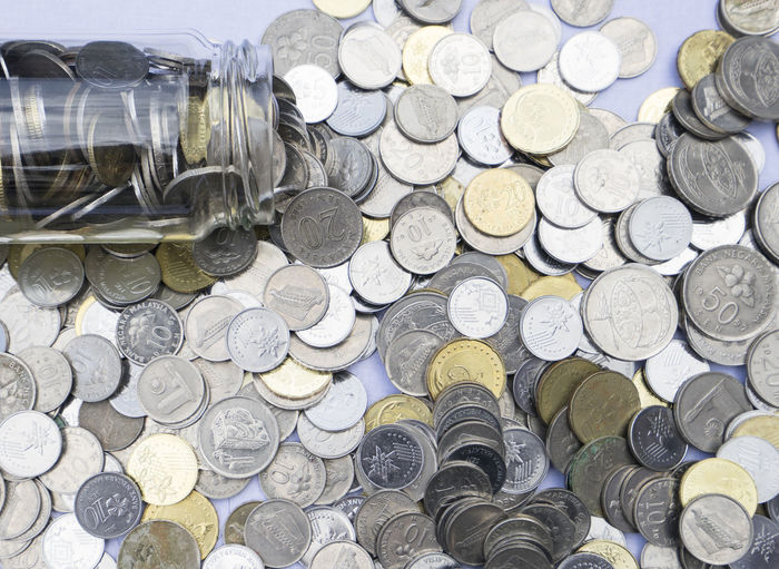 Scattered coins on a table