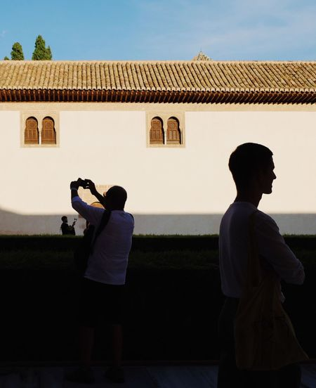 Roadtrip around Andalusia/Spain. 2nd Stop: Granada Real People Building Exterior Architecture Built Structure Rear View Standing Leisure Activity Lifestyles Building Togetherness Photography Themes Sunlight Streetphotography Street Photography Silhouette Silhouette_collection Light And Shadow Capture Tomorrow