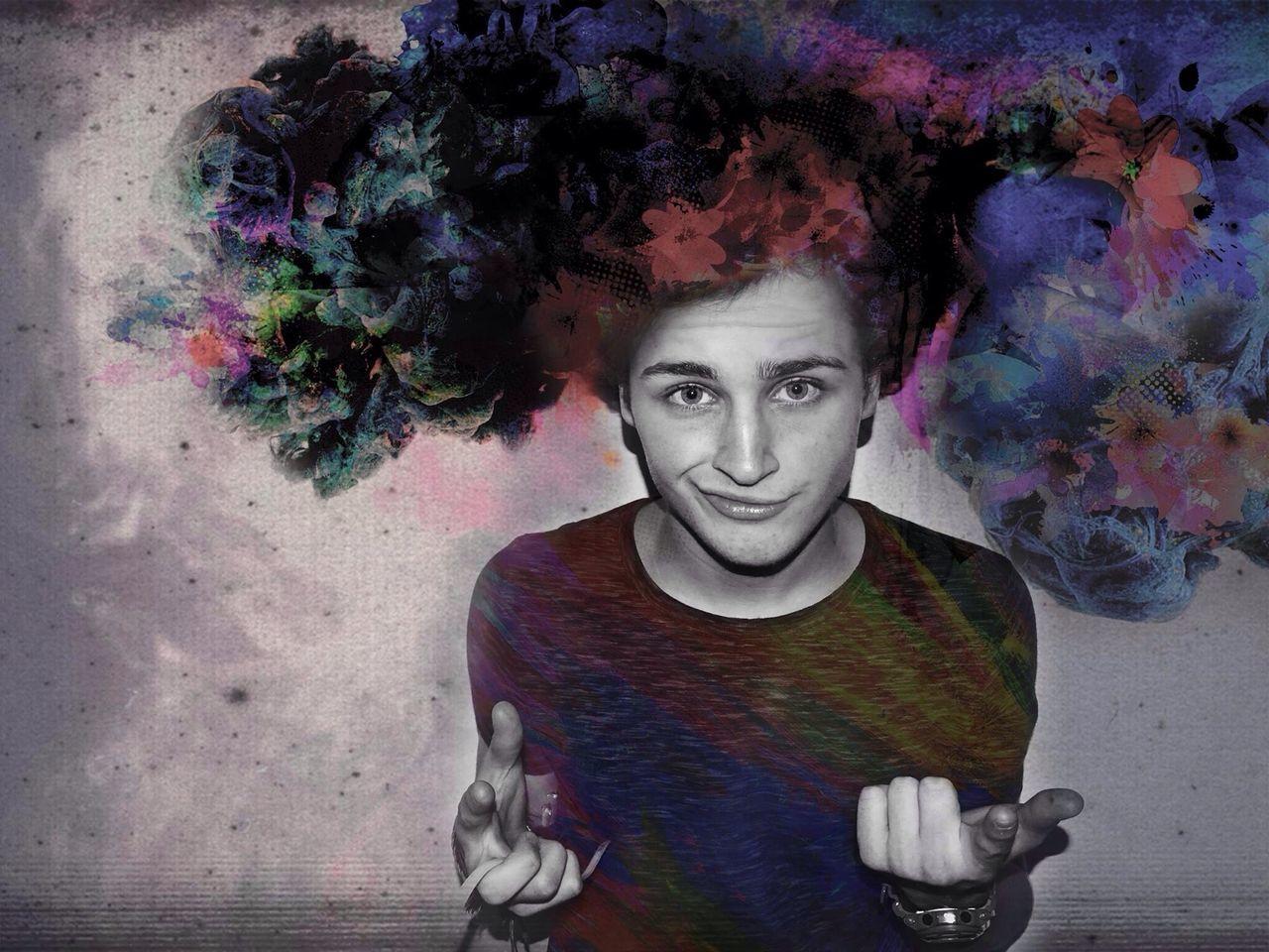 Digital Composite Of Boy Making Face