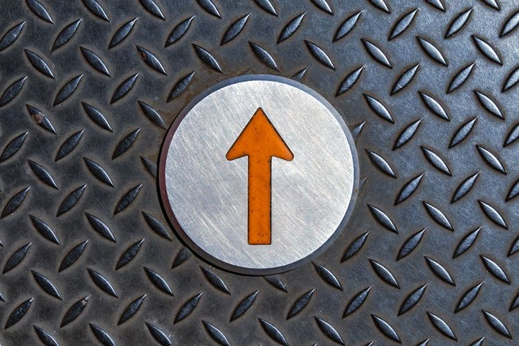 Direction Up Communication Sign Pattern Metal No People Full Frame Close-up Symbol Shape Textured  Backgrounds Geometric Shape Arrow Symbol Information Indoors  Technology Circle Directly Above High Angle View Information Sign Silver - Metal Signboard Warning Arrow Sign Directional Sign One Way Arrow Traffic Arrow Sign