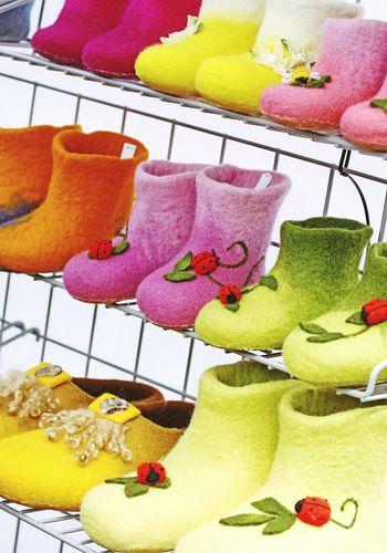 Felt FeltCraft Felt Craft Shoes Footwear Childhood Children Colorful Handmade Decorated Craft Boots Sale Shopping Creative Handicraft