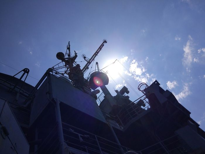Sky Low Angle View Cloud - Sky Nature Architecture Built Structure Outdoors Building Exterior Industry No People Military Day Dusk Occupation Metal Blue Machinery Ship Nautical Vessel Cruiser Cruiser Mikhail Kutuzov