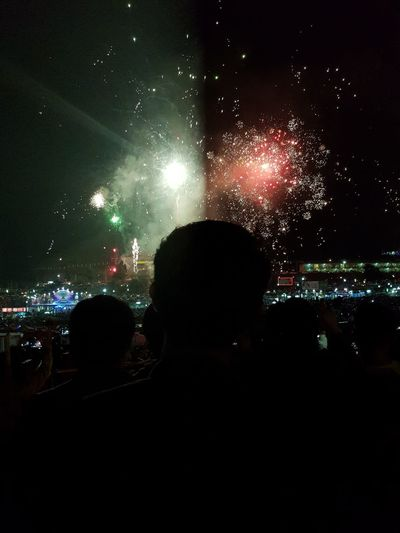 Arts Culture And Entertainment Nightlife Event Celebration Crowd Taunggyi Hot Balloons Festival Night Sky Firework🎆